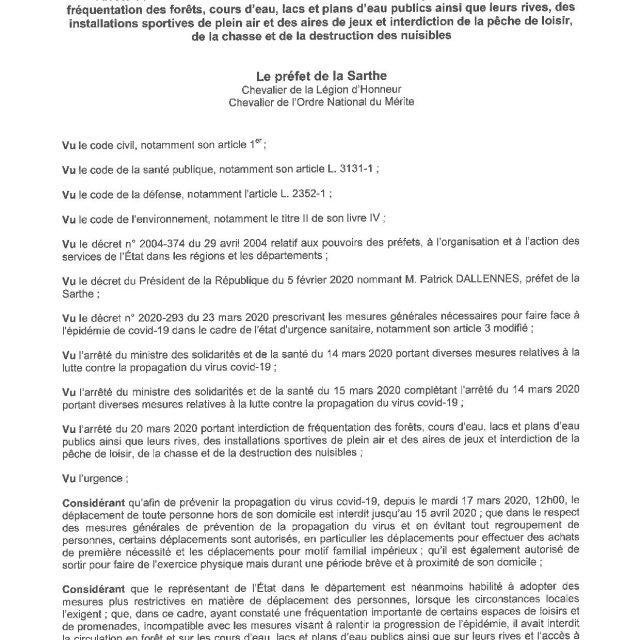 ARRÊTÉ PRÉFECTORAL PORTANT SUR DIVERSES INTERDICTIONS
